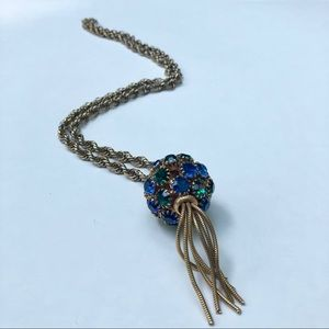 Vintage rhinestone ball pendant necklace
